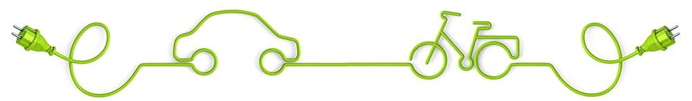 Ladestationen ePKW und eBike als Grafik mit Kabel und Steckdosen verbunden